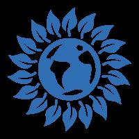 Bambus ist nachhaltig und ökologisch wertvoll. Symbol ist Sonne mit Weltkugel in der Mitte.