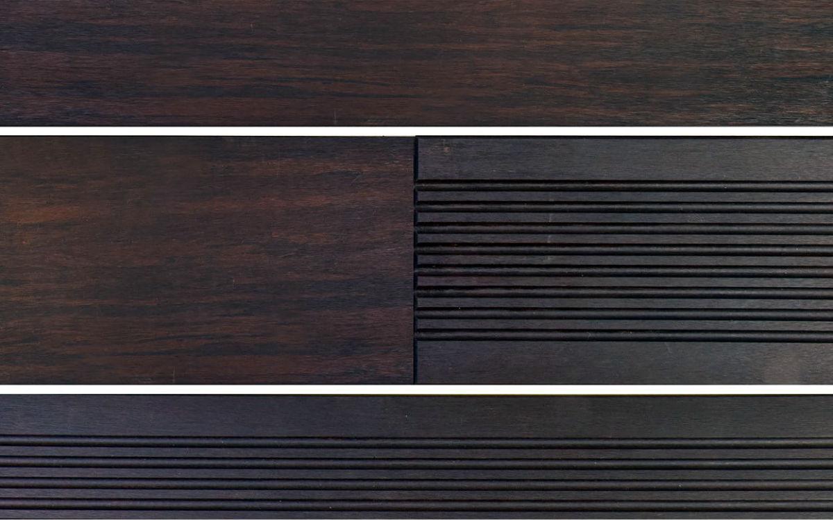 Terrassendiele schwarzbraun, grobes + glattes Profil