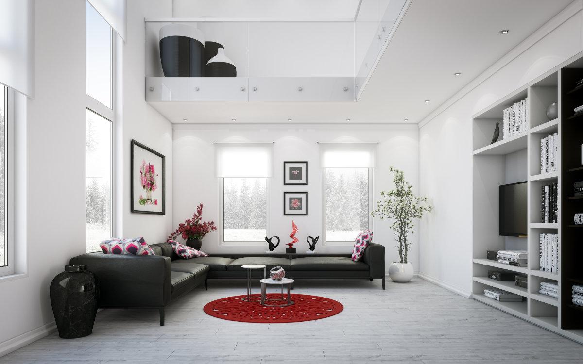 Massivdiele, Faserbambus, Macadamia, Wohnzimmer mit weißen, schwarzen und roten Farbakzenten. grob Sägerau