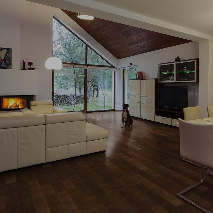 Wohnbereich mit heller Couch, Kamin und dunklem Bambus Parkett. Hund sitzt auf Parkettboden.